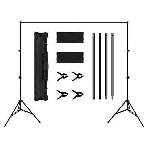 OMBAR Supporto per Fondale Fotografico Regolabile da 2 x 3 m, per Ritratti, Fotografia di Prodotti e Registrazione Video, Supporto Telescopico per Fotografia, con 4 Morsetti e 2 Sacchetti Sabbia
