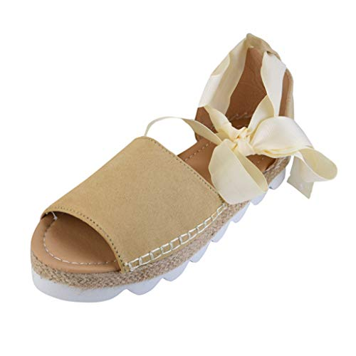 AIni Sandalias Mujer CuñA Alpargatas Plataforma Bohemias Zapatos Romanos Verano Zapatos De Boca De Pescado Sandalias De Correa De Encaje Zapatos Casuales De Planos De Playa TamañO Grande,35-43
