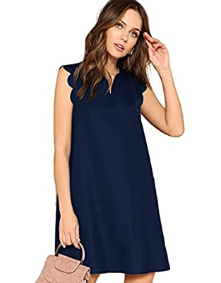 Material: 100% Polyester. Fabric has no stretch. Features:Sleeveless, V Neck, Scallop Trim, Trapeze Dress, Short Tunic Dress. Suitable for Summer, Casual Outtings, Office, Vacation, Picnic, Party, Traveling, Home and Daily wear. Care: Hand wash with ...