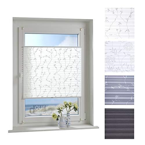 ourdeco® Plissee / 85 x 130 cm Weiß, bedrucktes Blumenmotiv Ranke/lichtdurchlässig, Blickdicht/Farbe: Weiß Ranke/Klemmen=Montage ohne Bohren=Smartfix=Klemmfix-Plissee=Easy-to-fix