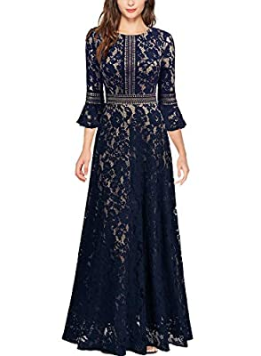 Size RECOMMEND: US 4/6(Small), US 8/10(Medium), US 12/14(Large), US 16/18(X-Large),US 20 (XX-Large) Full Length,Back Zipper,Bell Sleeve Retro Elegant Full Lace Overlay Long Maxi Style, Suit for Evening,Cocktail,Wedding Party and Formal Occasion Pleas...