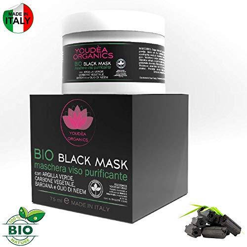 Novità 2019!Miglior Maschera Viso Bio Black Mask Made In Italy Certificata con Argilla Verde Bardana Aloe Vera Olio di Neem & Olio di Jojoba Pulizia Viso Maschera Nera Maschera Viso Punti Neri