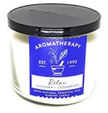 Bath and Body Works 3 Wick Scented Relax Aromatherapy Candle Lavender and Cedarwood 14.5 Ounce with Natural Essential Oils