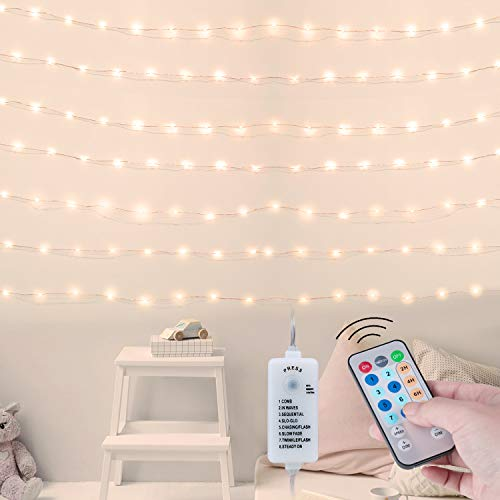USB Fairy String Lights with Remote and Power Adapter, 66 Feet...