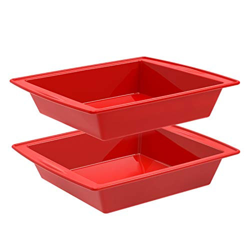 Silicone Square Cake Pan, 8'x8' Baking Pan, Brownie Pan - Set of...
