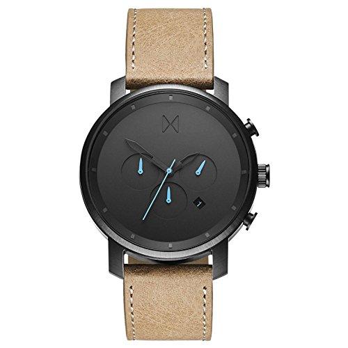 MVMT Herren Chronograph Quarz Armbanduhr mit Lederarmband D-MC01-GML