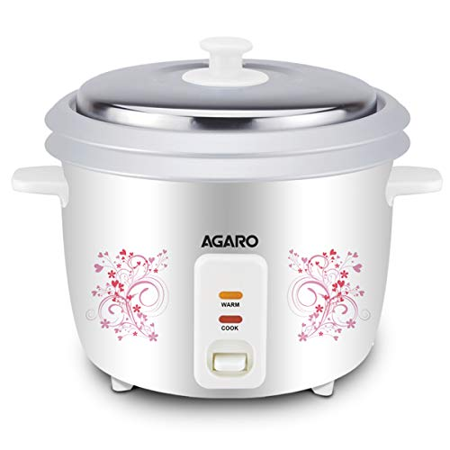 AGARO - 33308 Supreme Electric Rice Cooker 1.8-Litre with Steamer Tray (White)