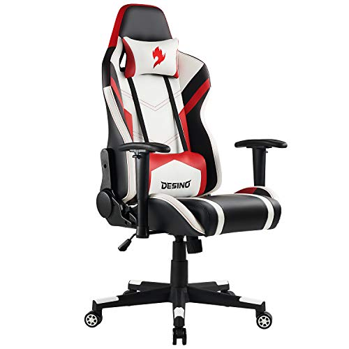 DESINO Gaming Chair Racing Style Ergonomic Swivel Rolling Computer Chair Video Game Desk Chair with Headrest and Adjustable Lumbar Support for Adults (Red)