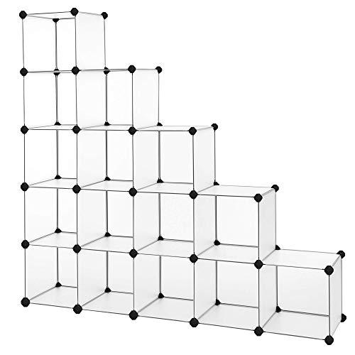 SONGMICS Guardaroba Modulare Armadietto Scaffale Mobiletto a 16 Cubi Scompartimenti per...