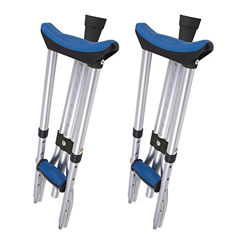 Carex Folding Crutches - Folding Aluminum Underarm Crutches - Lightweight, Great for Travel or Work, 2 Crutches Included, for 4'11' to 6'4' People