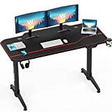 Waleaf Dual Motor Height Adjustable Electric Standing Desk, 55 inch Sit Stand Office Desk with Free Full Mouse Pad, Motorized Rising Lift Desk, Computer Office Desk with Headphone Hook & Cup Holder