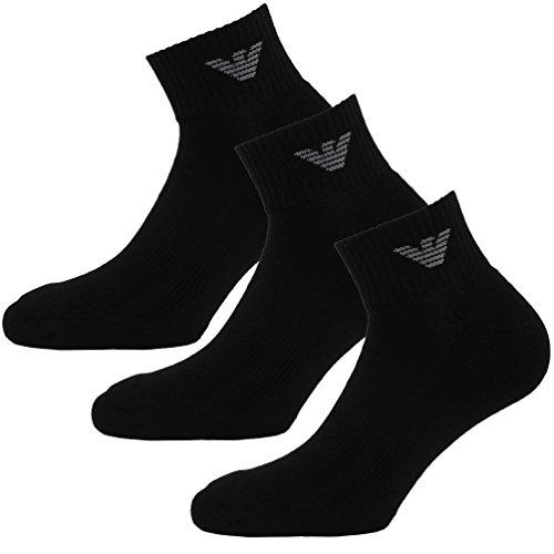 Emporio Armani Calzini Confezione Da 3 Lavorato a maglia calzini Sneaker Unisex bianco nero - Colore a scelta - cotone, Nero, 2% spandex\nfarbe 2% spandex 28% poliammide 70% cotone, Uomo, 39-41 (Tgl S)