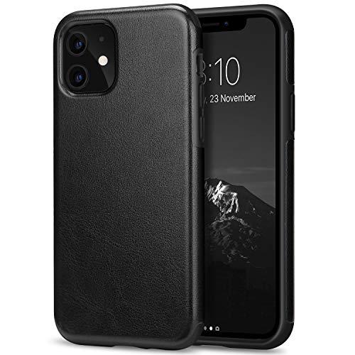 TENDLIN iPhone 11 ケース 高級レザーとTPUシリカゲルの混合で構成され、耐衝撃ケース(ブラック)