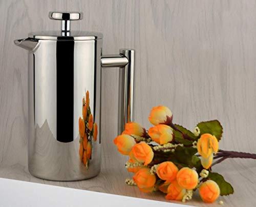 Cafetera de émbolo de BourneTech, de prensa francesa, de alta calidad, diseño especial, de 3, 6 y 8 tazas, acero inoxidable, Plateado, 3-cup 350ml
