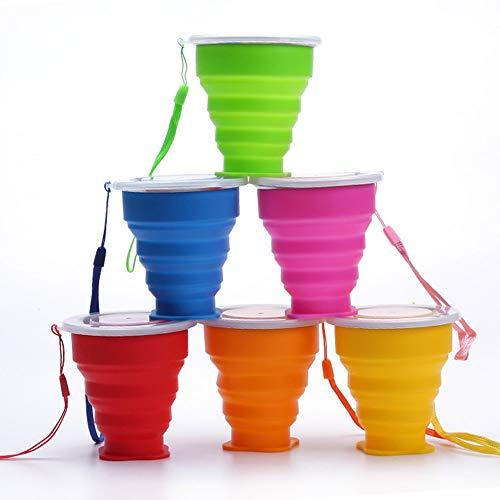 XSEXO Tasse de Voyage Pliable, Lot de 6 Tasses en Silicone Pliables avec...