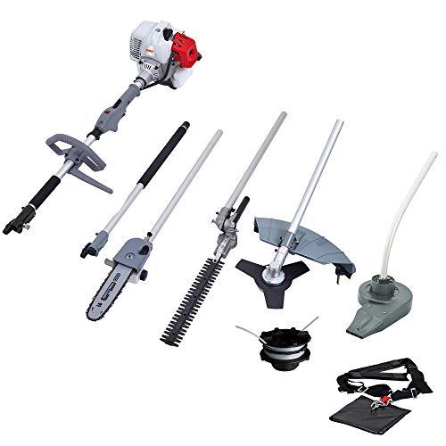 IKRA utensile multifunzione a scoppio 5in1 IBKH 52: decespugliatore, tagliabordi, potatore, tagliasiepi telescopico e soffiafoglie