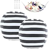 2 Packs Stuffed Animal Storage Beanbag Cover 24' for Kids Room DIY Bean Bag Chair Covers Only White Grey Stripes with a Stuffed Animal Storage Hammock