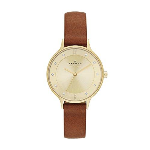 Skagen Damen Analog Quarz Uhr mit Leder Armband SKW2147