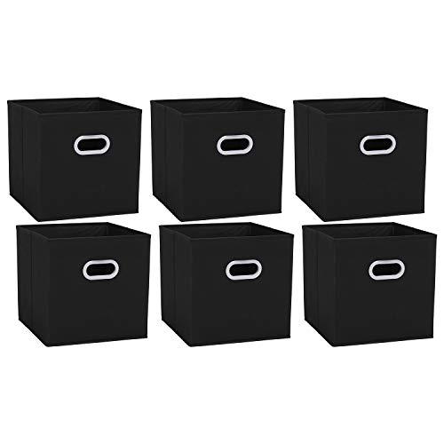 Amazon Brand Umi Set di 6 Cassette in Tessuto Panno Pieghevole Ripiegabile, Cubi Organizzatori Cesto Contenitori con Doppio Manico in Plastica per Casa, Ufficio, Asilo Nido, Colore Nero
