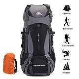 Sacs de Trekking 60L Travel Backpack en Nylon Sacs à Dos de Randonnée Étanche avec Housse de...