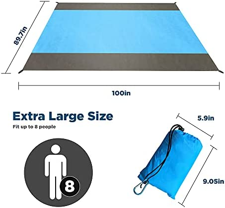 """Beach Blanket Sandproof Oversized, 100"""" X89.7"""" Beach Mat for 2-8 Adults, Waterproof Oversized Lightweight Outdoor Blankets for Travel, Camping, Hiking."""
