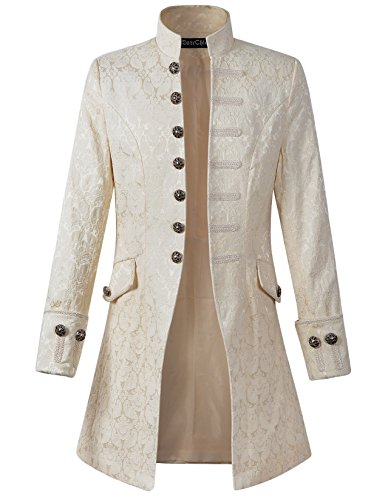 Mens Velvet Goth Steampunk Victorian Frock Coat (L/L, Cream) (Apparel)