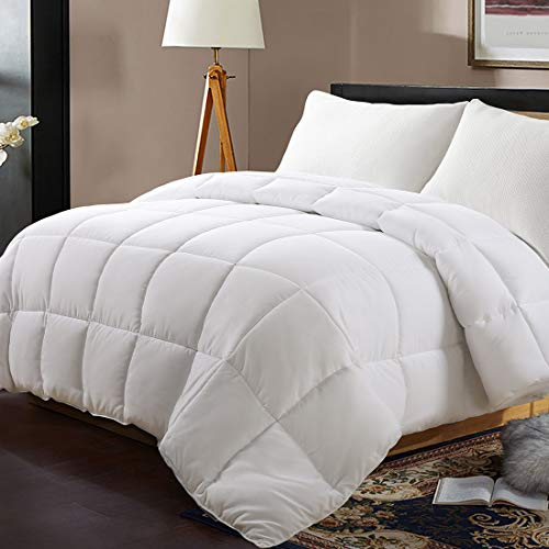 Edilly All Season California King Soft Quilted Down Alternative Comforter Hotel Collection Reversible Duvet Insert with Corner Tabs,Winter Warm Fluffy Hypoallergenic,96 by 104 Inches,White