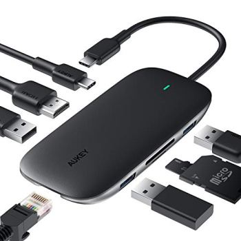 AUKEY USB C Hub 8 en 1 Adaptateur USB Type C 4K HDMI Port, 1Gbps Ethernet RJ45 Port, 100W PD Charging Port, 2 USB 3.0, 1 USB 2.0, SD et TF for MacBook Dell XPS Chromebook Samsung S9 (Black)