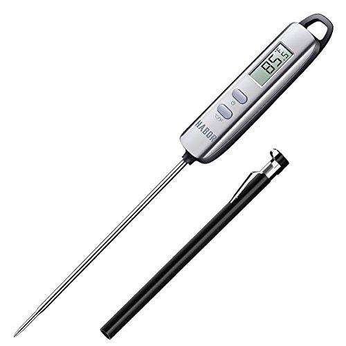 Habor Termometro Cucina Digitale, Termometro Digitale 5S Lettura Instantanea Auto-Off per BBQ, Griglia, Carne, Barbecue, Vino, Latte, Alimenti, Acqua Bagno