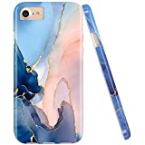 JAHOLAN Gold Glitter Sparkle Purple Marble Design Clear Bumper Glossy TPU Soft Rubber Silicone Cover Phone Case Compatible with iPhone 7 iPhone 8 iPhone 6 6S