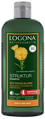 LOGONA Naturkosmetik Struktur Shampoo Bio-Ringelblume, Pflegt intensiv ohne zu Beschweren, Vitalisiert kraftloses & überpflegtes Haar, Bio-Pflanzenextrakten, 250ml