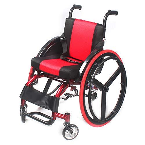 Sedia a Rotelle Pieghevole,Carrozzina disabili Sportiva Leggera,Sedia semovente di Trasporto in Lega di Alluminio per Adulti,Poggiapiedi Estraibili,capacit 100 kg