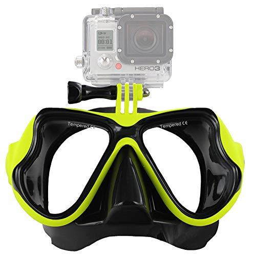 IXROAD Maschera Occhiali Snorkeling Subacquea Sub con Supporto per Action Cam (Giallo)