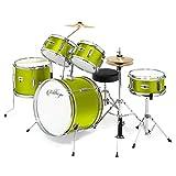 Ashthorpe 5-Piece Complete Kid's Junior Drum Set with Genuine Brass Cymbals - Children's Advanced Beginner Kit with 16' Bass, Adjustable Throne, Cymbals, Hi-Hats, Pedals & Drumsticks - Green