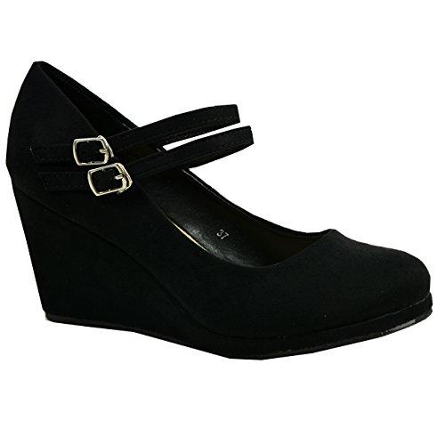 CucuFashion - Zapatos de tacón alto con plataforma de doble correa para mujer, talla 36 a 41, color Negro, talla 39 EU
