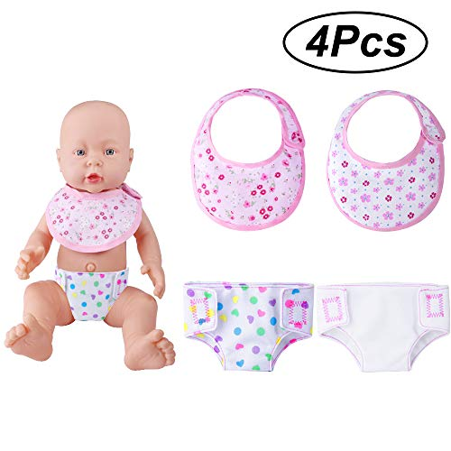 ONESING 4 Pcs Baby Doll Diapers Doll Bibs Doll Underwear for 14-18 Inch Baby Dolls, American Girl Doll