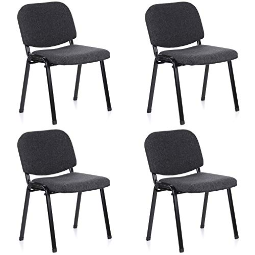 hjh OFFICE 704520 silla de confidente XT 600 lote de 4 tejido negro/antracita, apilable, acero estable, 4 sillas