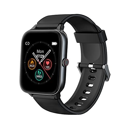 IOWODO Smartwatch, 1.5 Zoll Armbanduhr mit Schlafmonitor Schrittzähler Musiksteuerung, 5ATM Wasserdicht Sportuhr Fitness Tracker Pulsuhr kompatibel IOS Andorid, Smartwatch für Herren Damen