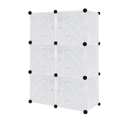 Armadio in plastica fai da te con 6 cubi con ante bianco