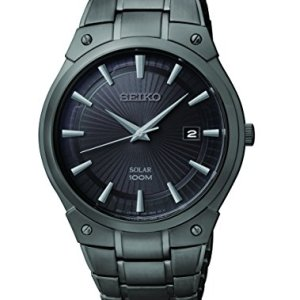 Seiko Men's SNE325 Dress Solar Black Stainless Steel Watch 31