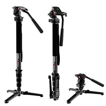 "KINGJOY Professional Video Monopod Kit 69"" Carbon Fiber Telescopic Camera Monopods with Pan Tilt Fluid Head and 3-Leg Tripod Base for DSLR Cameras Camcorders, MP3208+KH-6750"