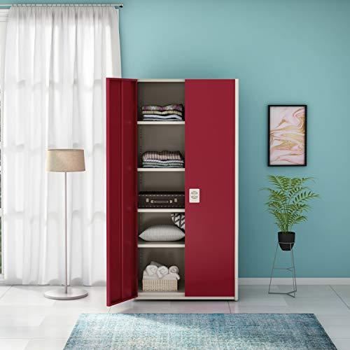 GODREJ INTERIO Platina Metal Wardrobe Bond White & Textured Carmine Red , 2 Doors