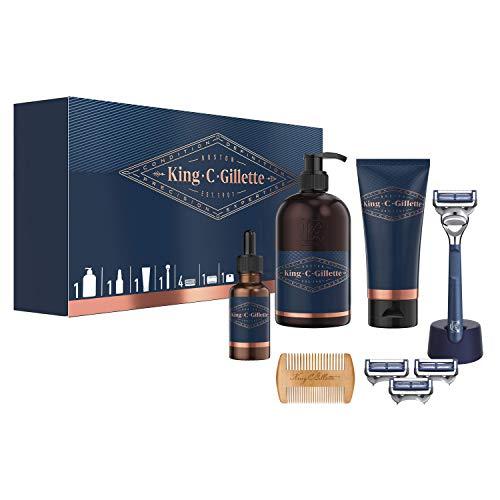 King C. Gillette Kit Regalo Da Uomo: Rasoio Per Il Collo + 3 Lamette + Gel Trasparente Per La Rasatura + Detergente Barba E Viso + Olio Per La Barba + Pettine per La Barba + Supporto Per Il Rasoio