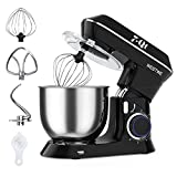 WESTWE Stand Mixer, 7-QT 660W 6 Speed Tilt-Head Food Mixer, Kitchen Electric Mixer with Stainless Steel Dough Hook, Wire Whip, Beater, Splash Guard, Egg Separator (Black, 7QT)