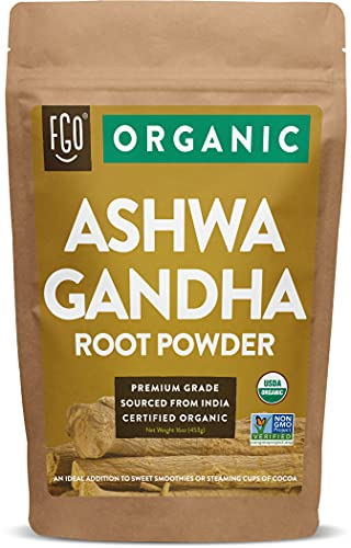 Organic Ashwagandha Root Powder   16oz Resealable Kraft Bag (1lb)   100% Raw from India   by FGO