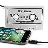 Adaptateur Cassette Jack Audio pour Voiture Reshow Premium - Auxiliaire au Tableau de Bord, au Lecteur MP3 et au téléphone Intelligent