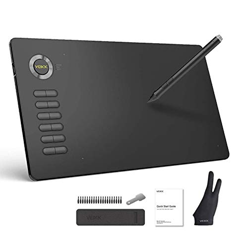 Drawing Tablet VEIKK A15 10x6 inch Graphic Pen Tablet with Battery-Free Passive Stylus and 12 Shortcut Keys