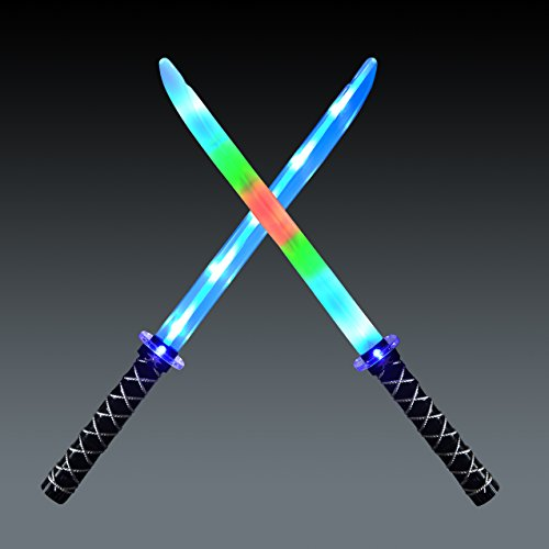 JOYIN 2 Deluxe Ninja LED Light Up Swords with Motion Activated Clanging Sounds  Bright Blue and Multi Color Sword for Halloween Party, Costume Accessories