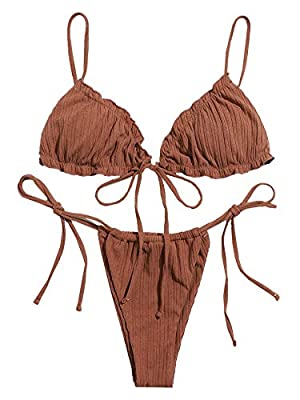Tie Side Bikini Swimwear with Removed Paddings Fabric: Fabric is very stretch, soft and comfortable Feature: Spaghetti Strap, Frill, Triangle, Tie Side, Thong, Fashionable Size Recommendation: Please refer to size chart which we provide in our photos...