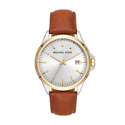 Michael Kors Men's Penn Stainless Steel Quartz Watch with Leather Strap, Brown, 21.5 (Model: MK7071)